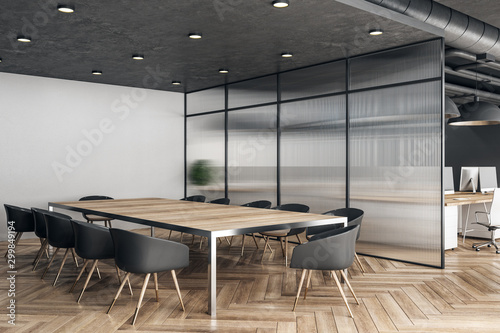 Autocollant pour porte Pays d Asie Wooden meeting room interior