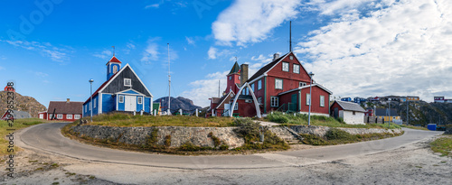 Photo Panorama of the Bethel Blue church and the Sisimiut Museum - Katersugaasiviat, Greenland