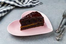 Sacher Chocolate Cake On Grey Stone Table