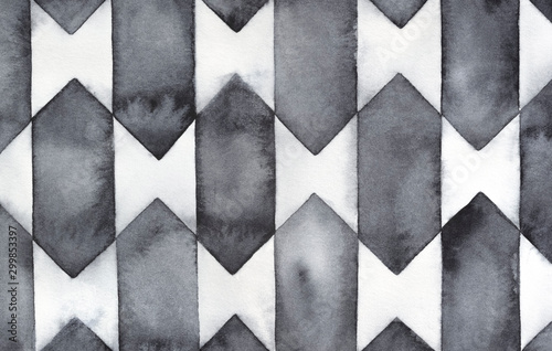 Black and white geometric background with artistic stain and splatter Canvas Print