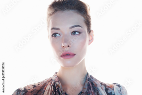 Poster womenART Beautiful lady on white background
