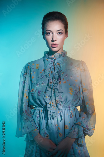 Fotobehang womenART Beautiful lady in blue chiffon dress