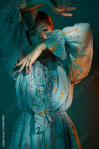 Recess Fitting womenART Beautiful lady in blue chiffon dress