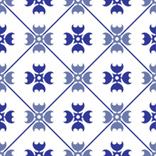 Ceramic Tile Pattern, Porcelain Seamless Modern Background, Blue And White Decorative Wallpaper Decor, Portugal Ornament, Moroccan Mosaic, Pottery Folk Print, Spanish Tableware, Vintage Tiled Design