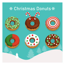 Set Of Variety Colorful Donuts In Christmas Theme.