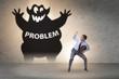 canvas print picture - Businessman afraid of big problem