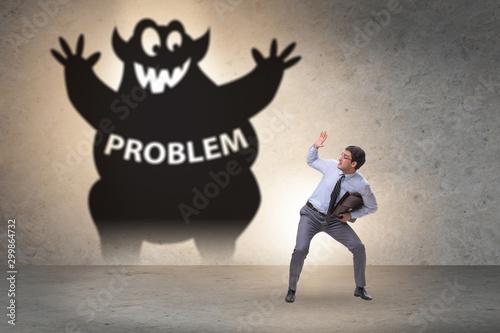 Cuadros en Lienzo Businessman afraid of big problem