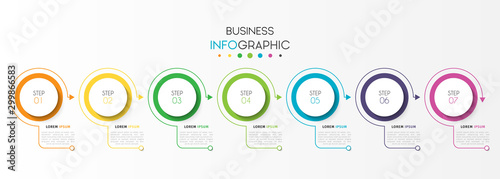 Obraz Business infographic element with 7 options, steps, number vector template design - fototapety do salonu