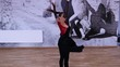 Slow motion female dancer spinning