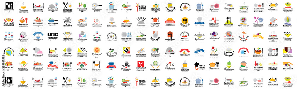 Fototapety, obrazy: Restaurant Flat Icons Set - Isolated: Vector Illustration, Graphic Design. Collection Of Colorful Icons. For Web, Websites, Print, Presentation Templates, Mobile Applications And Promotional Materials