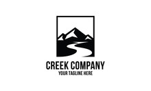 Creek And Mountain  Logo Desig...
