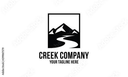 Canvas Print creek and mountain  logo design inspirations