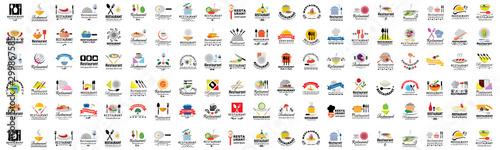 Leinwand Poster  Restaurant Flat Icons Set - Isolated: Vector Illustration, Graphic Design