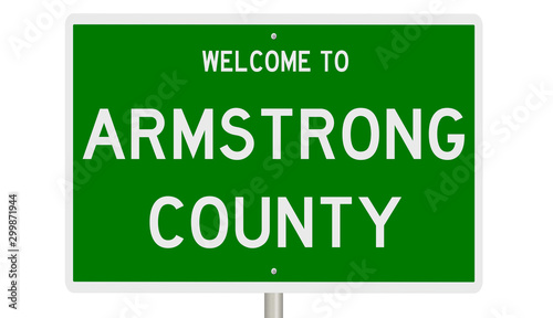 Rendering of a green 3d sign for Armstrong County Wallpaper Mural