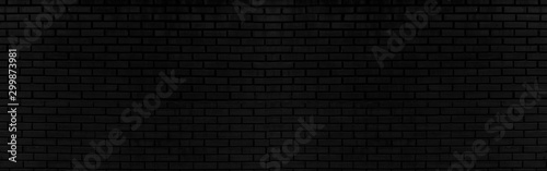 Obraz Abstract black brick wall texture for background or wallpaper design. panorama picture. - fototapety do salonu