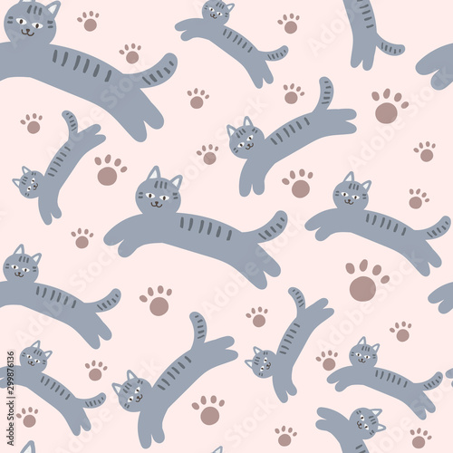 obraz lub plakat Cats and paws, vector seamless pattern