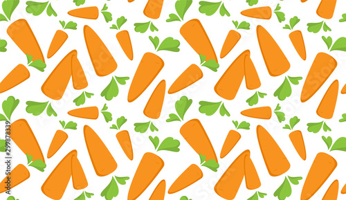 Obraz Carrot Seamless Pattern with flat orange vegetable, cartoon food illustration. Trendy background ornament. Cute print for menu, wallpaper, 100 vegan or vegetarian diet, textile design, easter, eco - fototapety do salonu