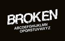 Stylized Modern Broken Abstract Font Set Of Alphabet Vector Text Design.