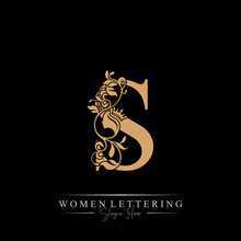 Initial Letter Luxury S Logo With Beautiful Woman Portrait. Leaf Ornament Luxury Glamour Concept.