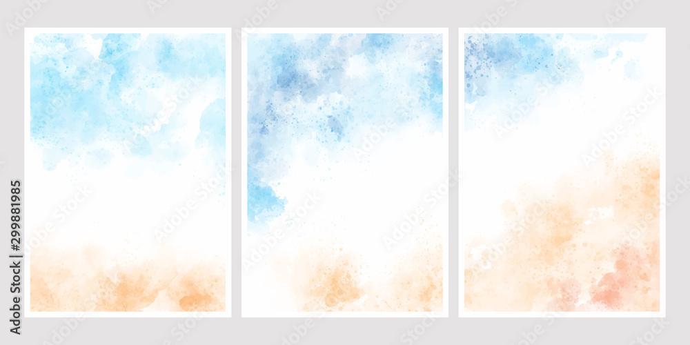 morze niebieskie niebo i piasek plaża tle akwarela na ślub szablon zaproszenia karty kolekcji 5 x 7 <span>plik: #299881985   autor: Unchalee</span>