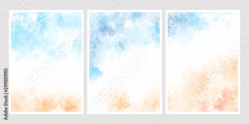 sea blue sky and sand beach watercolor background for wedding invitation card template collection 5x7