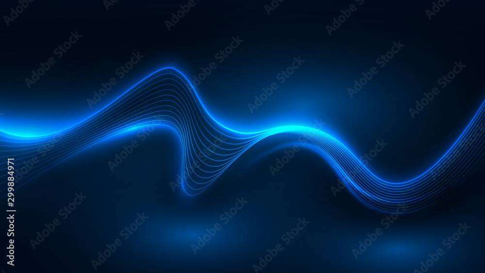 Fototapety, obrazy: Blue light wave of energy with elegant lines
