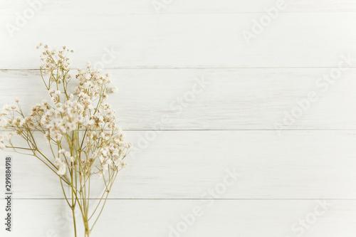 Fototapeta Baby's breath flowers on white wood background with copy space obraz na płótnie