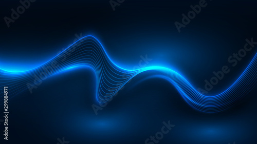 Obraz Blue light wave of energy with elegant lines - fototapety do salonu