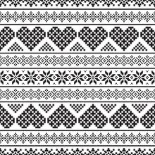 Pixel Merry Christmas Pattern. Tribal Xmas Event Design Illustration Vector. Christmas Design Black White Color.