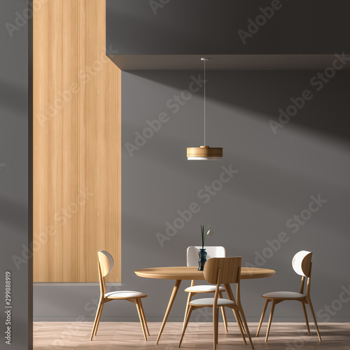 Fotografía  Modern dining room with wooden chair and table