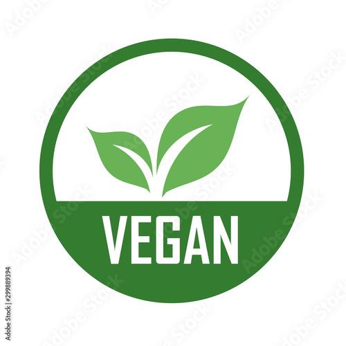 Vegan logo with green leaves for organic Vegetarian friendly diet- Universal veg Canvas Print