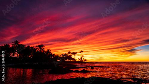 Glorious Colorful Hawaiian Sunset on the Big Island