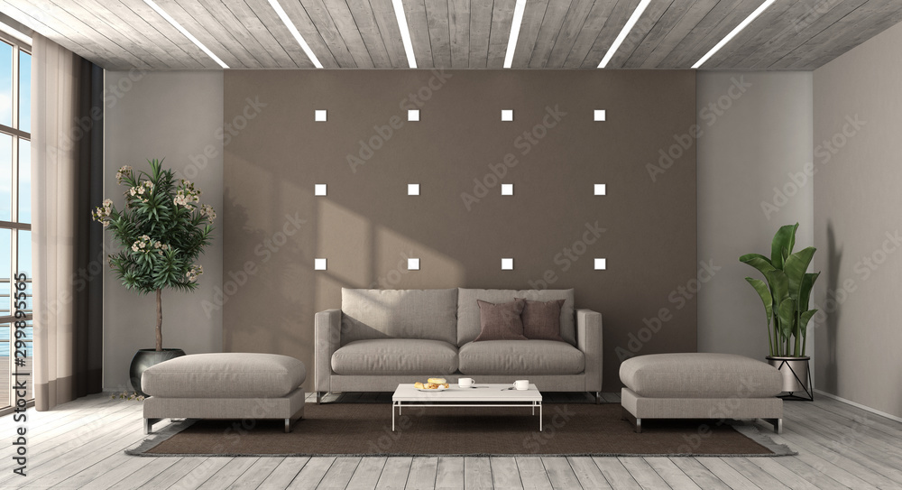 Fototapety, obrazy: Modern living room with sofa and footstool