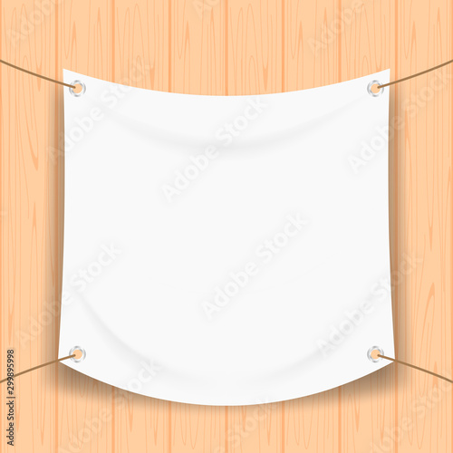Fotomural vinyl banner blank white isolated on square wood frame, white mock up textile fa