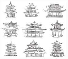 Vector Sketch Of Chinese Pagoda
