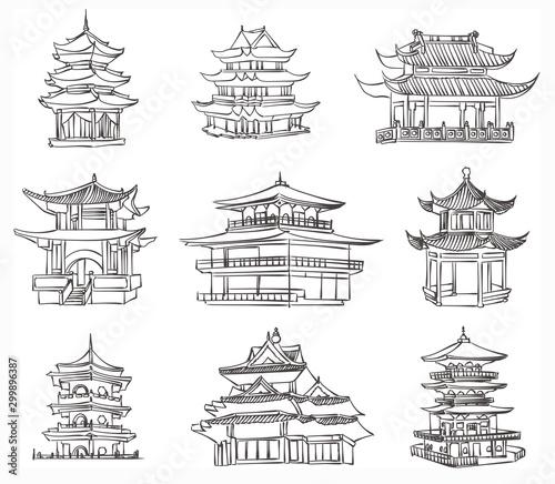 Fotografia vector sketch of chinese pagoda