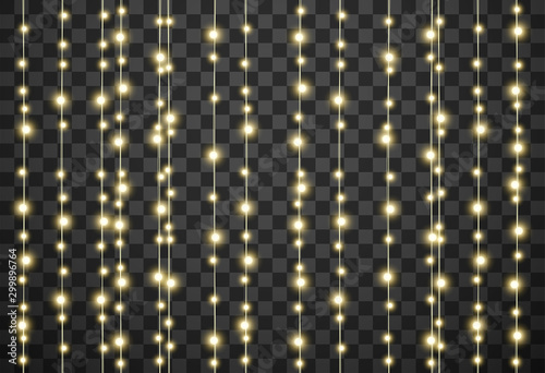 Christmas lights isolated on transparent background, vector illustration Tablou Canvas