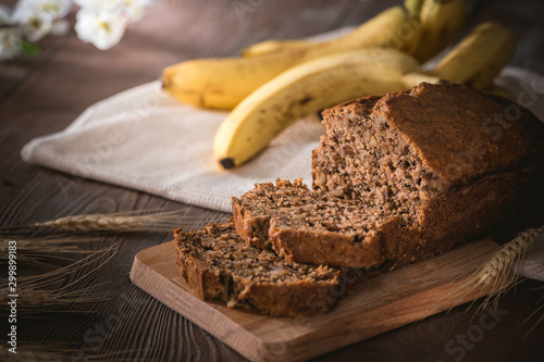 Fresh banana bread on rustic background Canvas-taulu