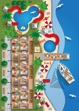 Beach Resort. View From Above. Vector Illustration.