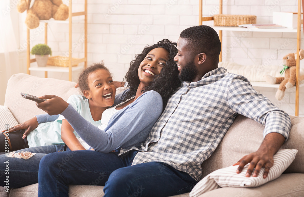Fototapety, obrazy: Joyful family having fun together, relaxing on sofa at home