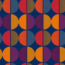 Vintage Color Geometric Round Seamless Pattern