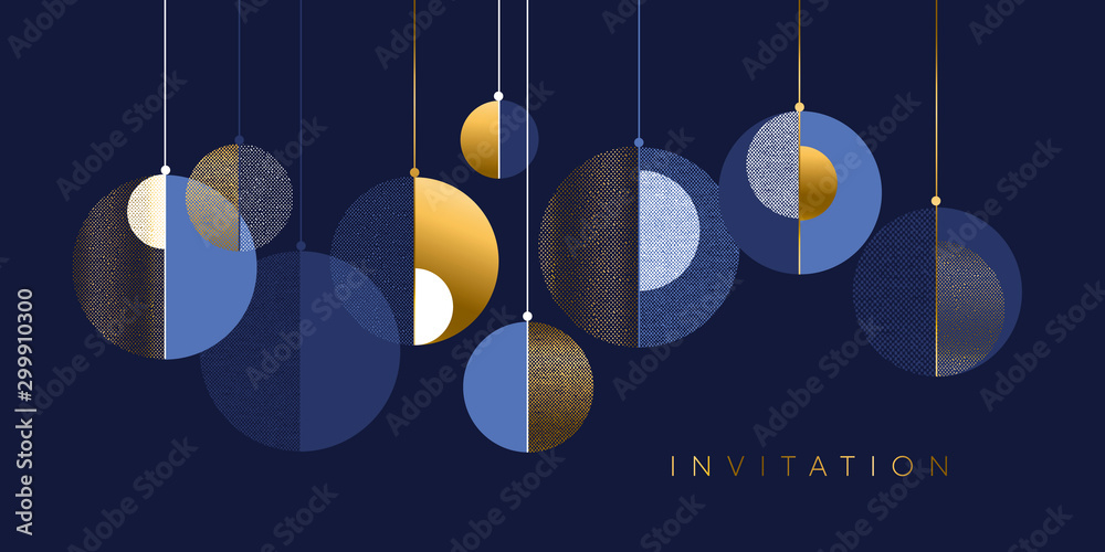 Fototapeta Christmas abstract bauble elegant geometric header