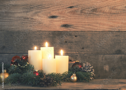 Fotobehang Retro Four Advent candles with decoration