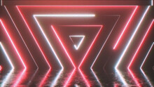Abstract Background From Seamlessly Appearing Neon Colorful Triangle With Noise Artifacts Pixelation Posterization. Retro Video Effect, Old 90s VHS Videotape. 3d Illustration