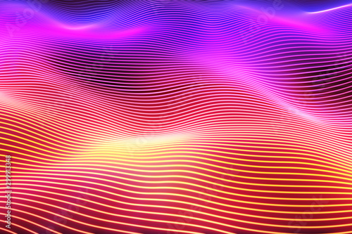 Abstract wave surface. Big data of particles. Futuristic neon glowing surface. Abstract motion background. 3d illustration - 299913348