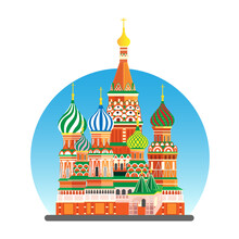 Moscow City Flat Vector Illustration, St. Basil's Cathedral On Red Square
