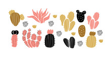 Vector Set Of Cactuses, Succul...