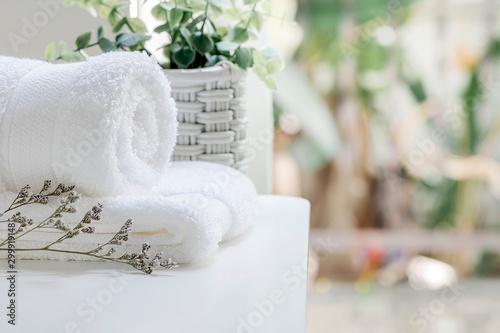 Closeup white towels and houseplant on white table near the window in modern house, copy space Obraz na płótnie