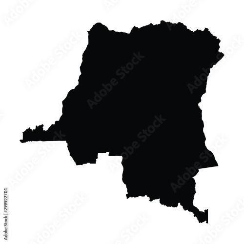 Obraz A black and white vector silhouette of the Democratic Republic of the Congo - fototapety do salonu