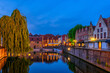 canvas print picture - Typical view of the historic city center of Bruges (Brugge), West Flanders province, Belgium. Night cityscape of Bruges.